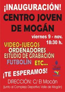 Cartel Inauguracion Centro Juvenil Mogan 9 Noviembre 2018