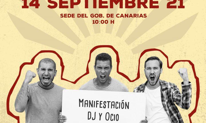 Manifestación DJ y ocio nocturno Gran Canaria 14 Septiembre 2021